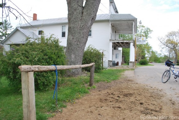 Hitching post for Amish buggies in Algansee's business district
