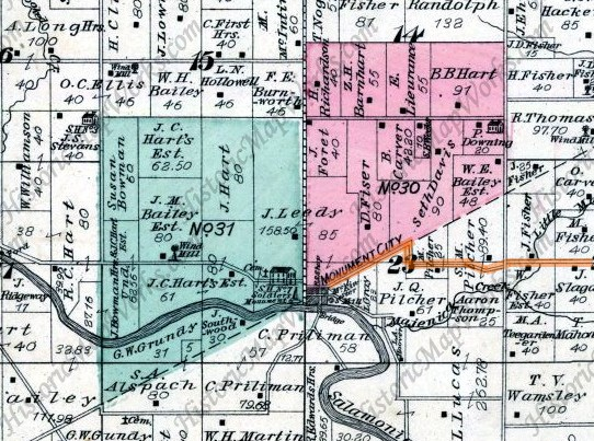 Snippet of Huntington County (IN) atlas from 1879